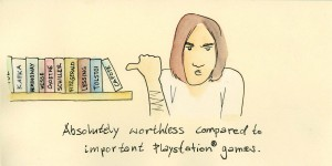 lea_illustration_weihnachtskarte_bruder_absolutely_worthless_compared_to_important_playstation_games_aquarell