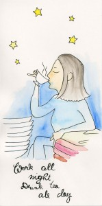 lea_illustration_weihnachtskarte_mama_work_all_night_drink_tea_all_day_aquarell