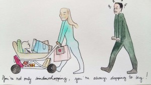 lea_illustration_weihnachtskarte_schwester_you're_not_only_window_shopping_you're_always_stopping_to_buy_aquarell